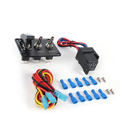 1 Set 12V 20A 3 Group Toggle Switches Panel for Racing Car Aluminum Plate Circuit Modified Combination Switch Kit with LED