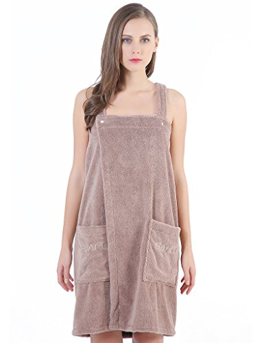 Women's Spa Bath Towel Wrap, Shower Robe - Plush Soft Terry Cotton Bathrobe with Straps,XL Brown - Loop Terry Shower Wrap