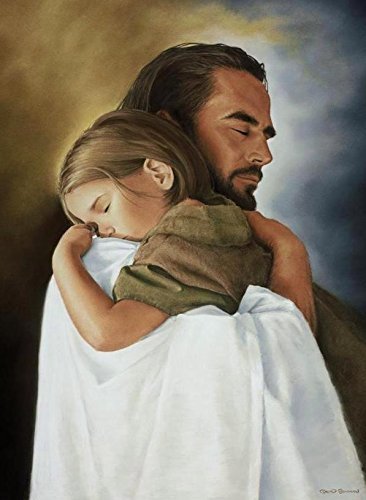 Security 11''x14'' Wall Art Print of Jesus Christ Hugging Child By David Bowman Religious and Spiritual Art Print Poster Christian by David Bowman