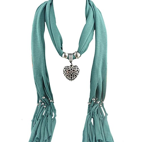 Clearance,Yang-Yi Women Scarf Automn Winter Heart Gemstone Necklace Scarf Lady Tassel Warm Scarves (Green, one (Yang Gemstone)
