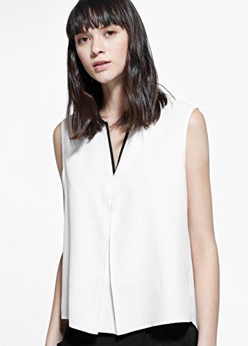 Mango Women's Contrast Trim Top, Off White, Xs