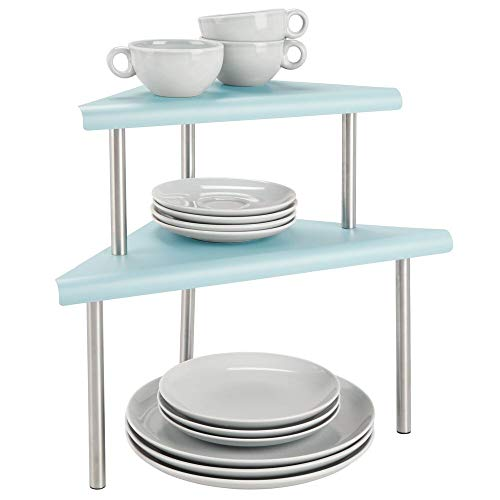 mDesign Modern Metal 3-Tier Kitchen Countertop and Pantry Cabinet Corner Storage Shelf Organizer Stand for Storing Mugs, Bowls, Spices, Baking Supplies - Free Standing, 2 Shelves - Mint Green/Brushed