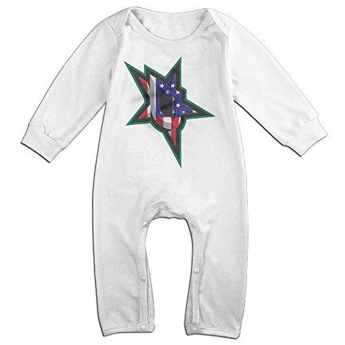 ROBERT Baby Infant Romper Dallas US Flag Stars Logo Long Sleeve Jumpsuit Costume 12 Months