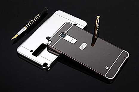 For LG Stylus 2 Plus //Stylo 2 Plus Mirror Case,Shinetop Fashion Ultra Slim Thin Aluminum Metal Bumper Frame Bling Mirror Reflective Effect PC Hard Back Cover Protective Cell Phone Case-Black