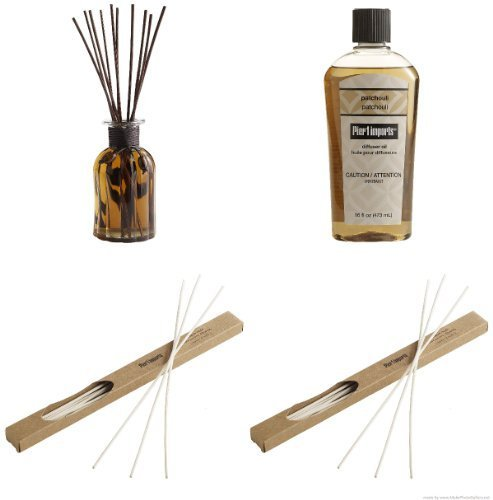 Pier 1 Imports Reed Diffuser-Patchouli, Patchouli Diffuser Oil and Diffuser Reeds -(Two 10 Packs) by Pier 1 Imports by Pier 1 Imports
