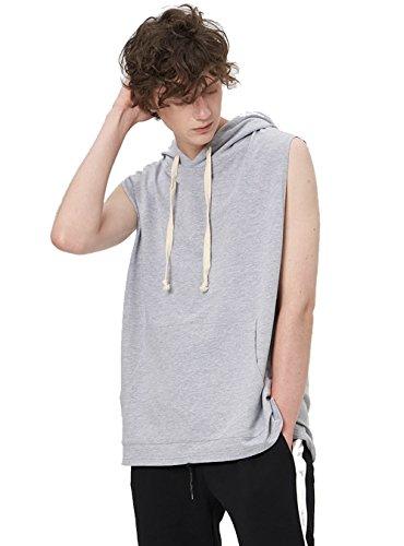 Zengjo Men's Sleeveless Hooded Hip Hop Tanktop Active Hipster Sportwear Sweatshirt Solid Drawstring Hoodie (Heather Grey-L)
