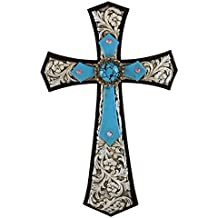 Pine Ridge Rustic Christian Family Wall Hanging Stunningly Detailed with Embossed Silver Leather Background and Burnished Turquoise Accent Cross Home Decoration - Catholic Wall Art Cross Gift Ideas