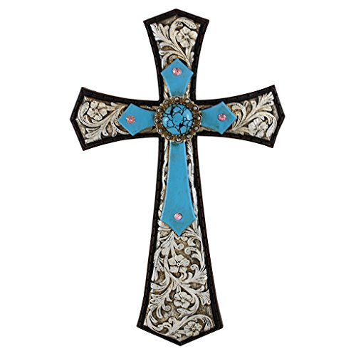Pine Ridge Rustic Christian Family Wall Hanging Stunningly Detailed with Embossed Silver Leather Background and Burnished Turquoise Accent Cross Home Decoration - Catholic Wall Art Cross Gift - Swiss Office Head American