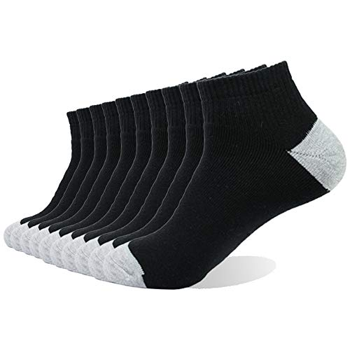 Socks Cushion Cut Low - Sock Me One| 10 Pack Black Men's Cotton Moisture Wicking Extra Heavy Cushion Low Cut Socks
