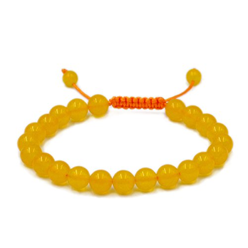 AD Beads Natural 8mm Gemstone Bracelets Healing Power Crystal Macrame Adjustable 7-9 Inch (Yellow Jade)