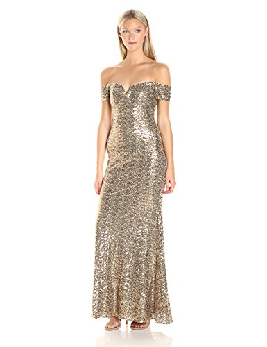 Badgley Mischka Women's Off The Shoulder Stretch Sequin Gown, Gold, 12