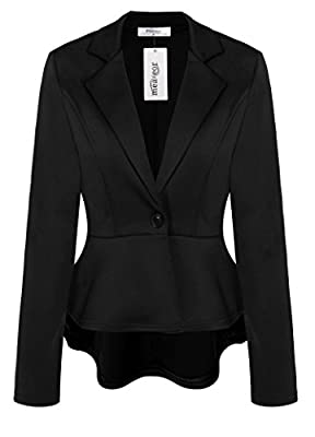 Meaneor Women's Crop Frill Shift Slim Fit Wear to Work Peplum Blazer Jacket Coat