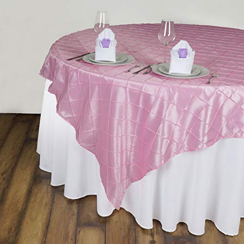 Mikash 60 Pintuck Taffeta Table Overlays Wedding Catering Event Dinner Decorations | Model WDDNGDCRTN - 6750 | 15 pcs]()