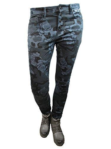Donna Ragazzo Fiori Aperto Placedujour Blue Jour Du Luogo Abbottonatura Cascante Larghi Jeans Bn7Zqxn