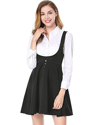 fa1d332781e Allegra K Women s Solid Button Decor Flared Hem Overall Dress Suspender  Skirt at Amazon Women s Clothing store