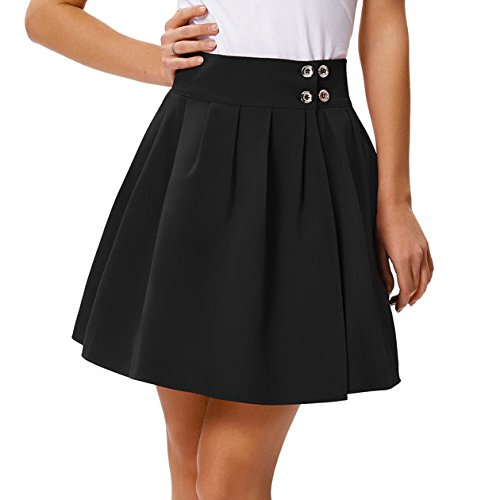 Belle Poque Women Classic Above Knee Pleating High Waist A-Line Pleated Skirt Size XL Black