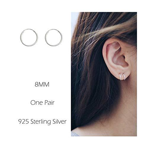Sterling Silver Hoop Earrings Cartilage Piercing Earring Small Round Set For Women Men Girls ()