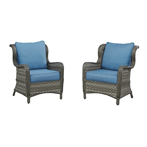 - Ashley Furniture Signature Design - Abbots Court Outdoor Lounge Chair with Cushions - Set of 2 - Wicker - Blue & Gray