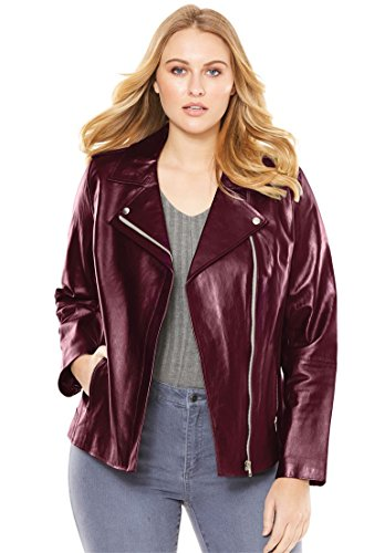 Roamans Women's Plus Size Leather Motorcycle Jacket Merlot,20 W