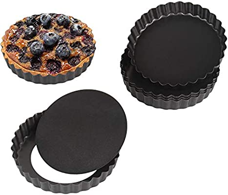 Beasea 6pcs Non Stick Pie Pan Removable Bottom Mini Tart Pans Rectangular Tart Pan Quiche Pan 4 Inch