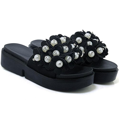 TAOFFEN Women's Slip On Sliders Mules Shoes Black noXJFd