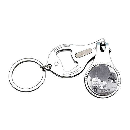 (USA United States Jackson Square New Orleans Sketch Nail Clipper Bottle Opener Keychain Creative Crystal Stainless Steel Multifunction Souvenirs Gifts)
