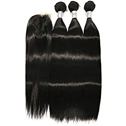 Amberhair Silky Straight Synthetic Hair 3 Bundles With 2x4 Middle Part Lace Closure Heat Resistant Fiber Hair Emulate Human Hair Natural Black (14 14 14+10)
