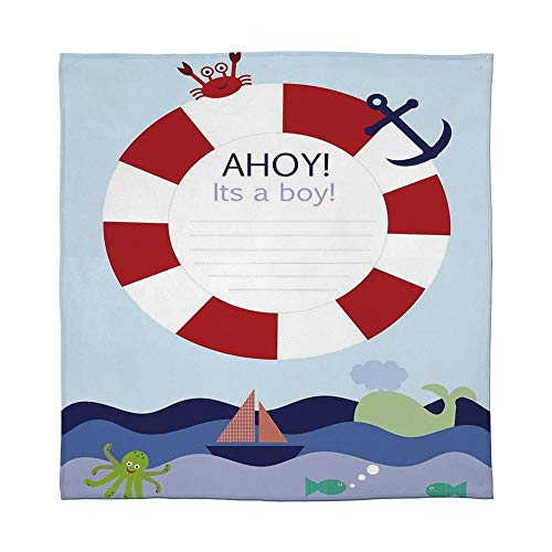 YOLIYANA Lightweight Blanket,Ahoy Its a Boy,for Bed Couch Chair Fall Winter Spring Living Room,Size Throw/Twin/Queen/King,Announcement Card Inspired Composition Maritime Funny Sea ()