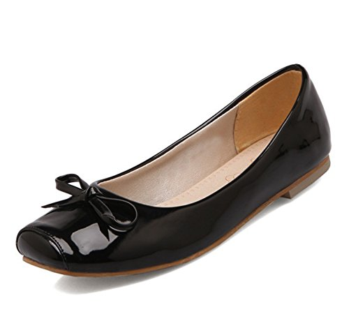 Easemax Mujeres Trendy Patent Arcos Square Toe Low Top Slip On Flats Zapatos Negro