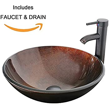 Eclife Promotion 1.5 GPM Round Artistic Bathroom Vessel Sink Combo Bronze Countertop Modern Tempered Glass Sink & Oil Rubbed Bronze Faucet & Pop-up Drain & Solid Brass Pop up Drain Basin Combo A01