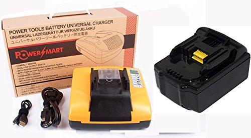 PowerSmart Charger With 18 Volt 3000mAh Li-ion Battery 194204-5, 194205-3, 194309-1, BL1815, BL1830, BL1835, LXT400 FOR Makita LXCU01, LXCU01Z, LXHU02Z, LXJP02, LXLM01W, LXMU02Z, LXNJ01, LXRU02, - Built-in dual USB ports