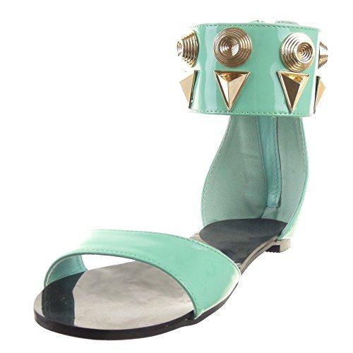 Sopily - Zapatillas de Moda Sandalias Abierto Caña baja mujer tachonado metálico Moderno Talón Tacón ancho 1 CM - Verde