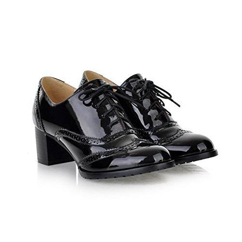 Balamasa Femmes Bout Rond À Lacets Évider Kitten-talons En Cuir Verni Pompes-chaussures Noir