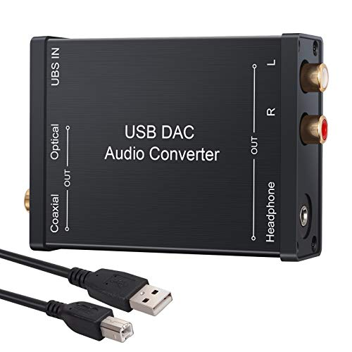 LiNKFOR USB Audio Adapter HiFi USB DAC Audio Converter External Stereo Sound Card USB to Coaxial Optical 3.5mm Jack Converter Support PCM for Windows, Mac, PC, Laptops, Desktops, PS4