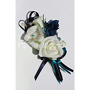 Ivory Rose & Navy Blue Lisianthus Artificial Wedding Corsage 8