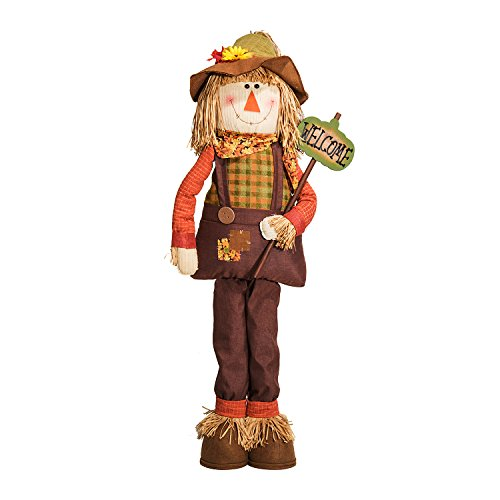 5.5' Plush Standing Boy Scarecrow w/ Welcome Sign - Fall Halloween Thanksgiving Home Decoration