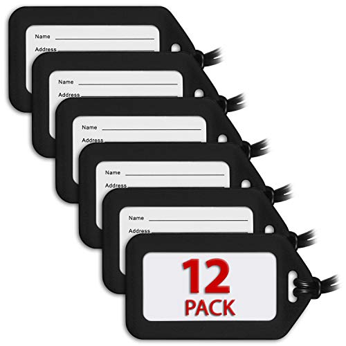 (MIFFLIN Luggage Tags (Black, 12 PK), Bag Tag for Baggage, Suitcase Tags Bulk)