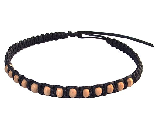 Thai Buddha Fashion Art Handmade Bracelet Black Wax String White Wood Beads Wristband Thailand