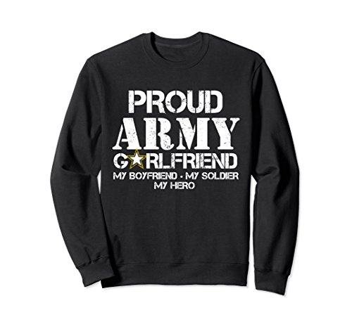 Unisex Proud Army Girlfriend Sweatshirt Military Girlfriend My Hero Medium Black