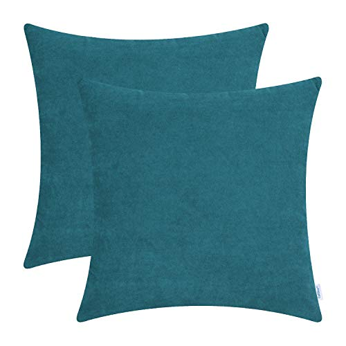 CaliTime Pack of 2 Cozy Throw Pillow Covers Cases for Couch Sofa Home Decoration Solid Dyed Soft Velvet 18 X 18 Inches Teal (Rustic Turquoise Throw Pillows)