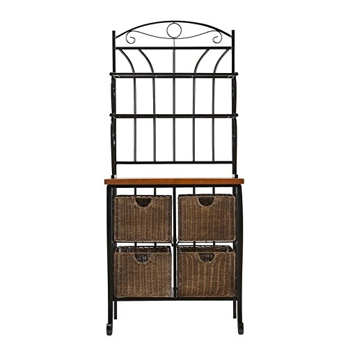 Liquid Pack Solutions Storage Baker's Rack 4 Brown Wicker Baskets with Steel Wire Frame Four Removable Basket Drawers Hand Painted Metal