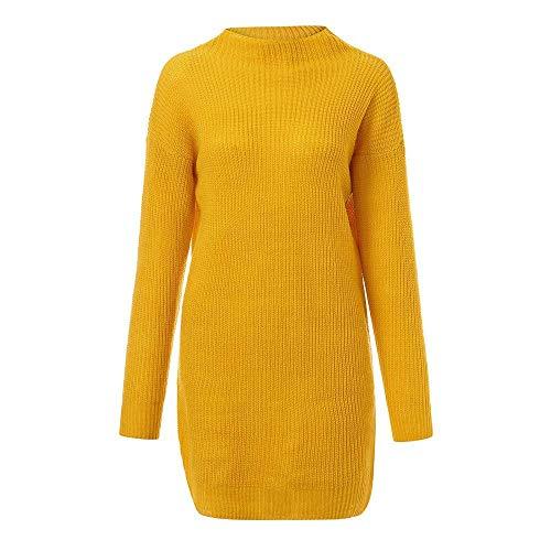 Damen Longshirt Langarm Streifen Minikleid Casual Freizeitkleid Pullover Winter