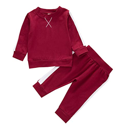 Baby Girl Fall Outfit Newborn Long Sleeve Sweatshirt Top Pants Set Solid Cotton Clothes Pajamas Two Pieces Red 6-12M