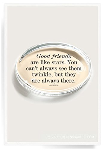 Ben's Garden Good Friends Are Like Stars Crystal Oval Paperweight