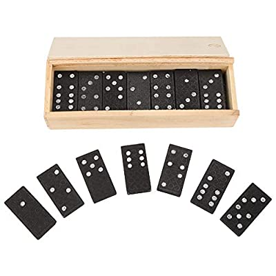 Pokerty Black Dominoes Blocks, 28Pcs Wooden Cards Educational Kids Toy Set Interesting Learning Board Game Children Gift: Toys & Games