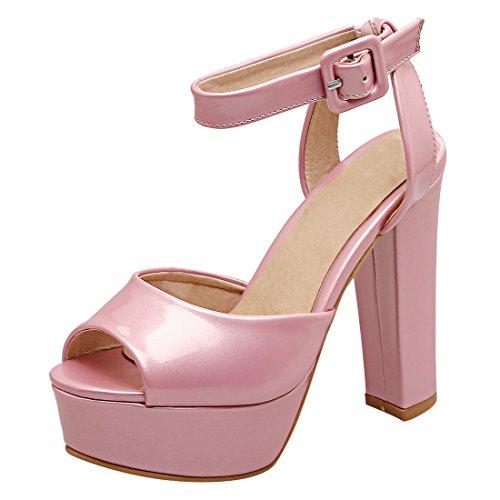 YE Damen Knöchelriemchen Lackleder High Heel Plateau Sandalen mit Blockabsatz und Schnalle Party Elegant Schuhe Rosa