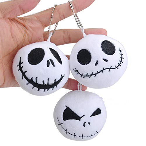 CHITOP 1 Pcs! The Nightmare Before Christmas -Jack Pendant Keychain Plush Toys -Pendant Dolls Soft Stuffed Toys 8CM]()