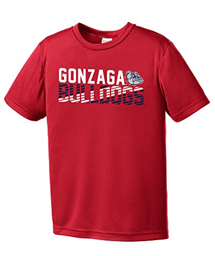 NCAA Gonzaga Bulldogs Youth Boys Diagonal Short sleeve Polyester Competitor T-Shirt, Youth X-Large,Red