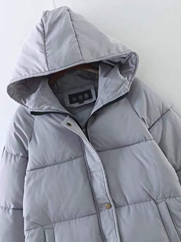 Qualità Vento Piumini Cerniera Di Tasche Grau Invernali Donna Alta Monocromo Manica Giacca Moda Cappuccio Anteriori Marca Mode Con Pulsante Lunga Cappotti fwnaqUg