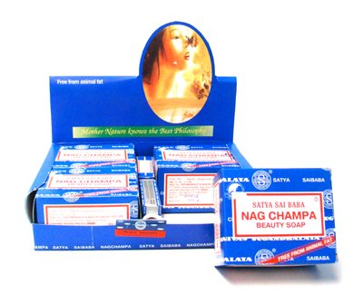 - Satya Sai Baba Nag Champa Indian Incense Beauty Bar Natural Vegan Soap Single or 4-Pack Gift Box Not Animal Tested (Pack of (4))